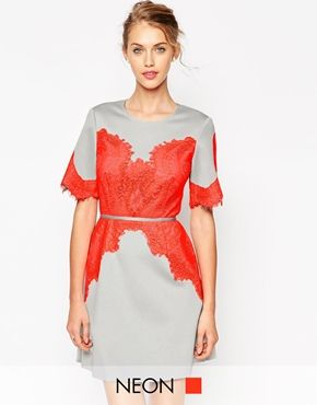ASOS Bonded T-Shirt with Fluro Lace Dress