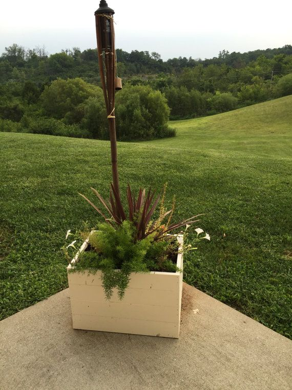Tiki Torch Stand Wood Flower Box Wood Flower Pot By