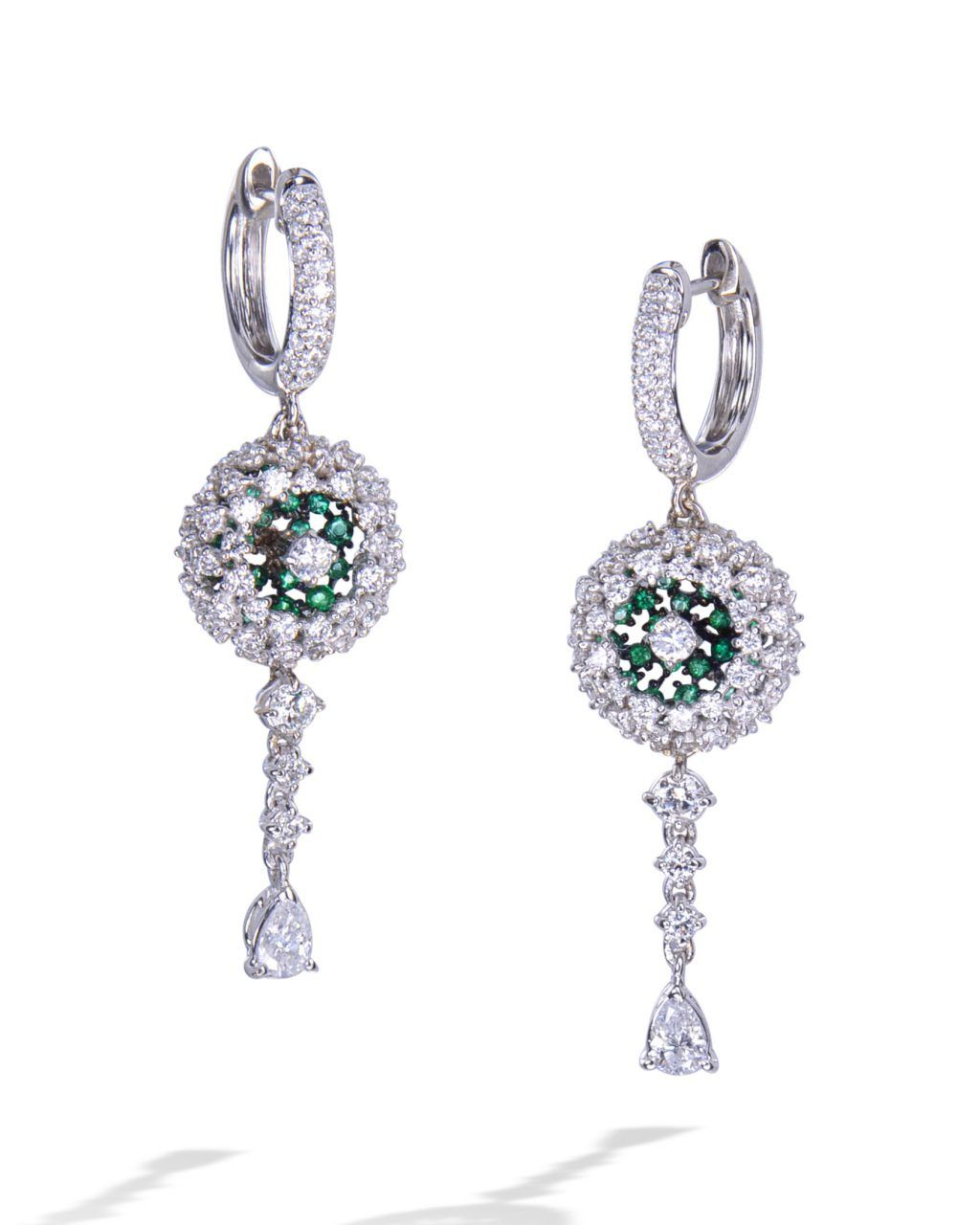 52b7b61d7 Beautiful pair of emerald and diamond pavé-set drop dangle earrings mounted  in 18 karat white gold.