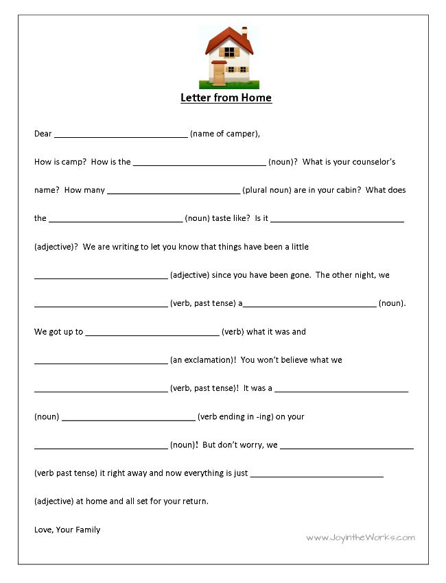 FillInTheBlank Letters To And From Camp  Funny Mad Libs