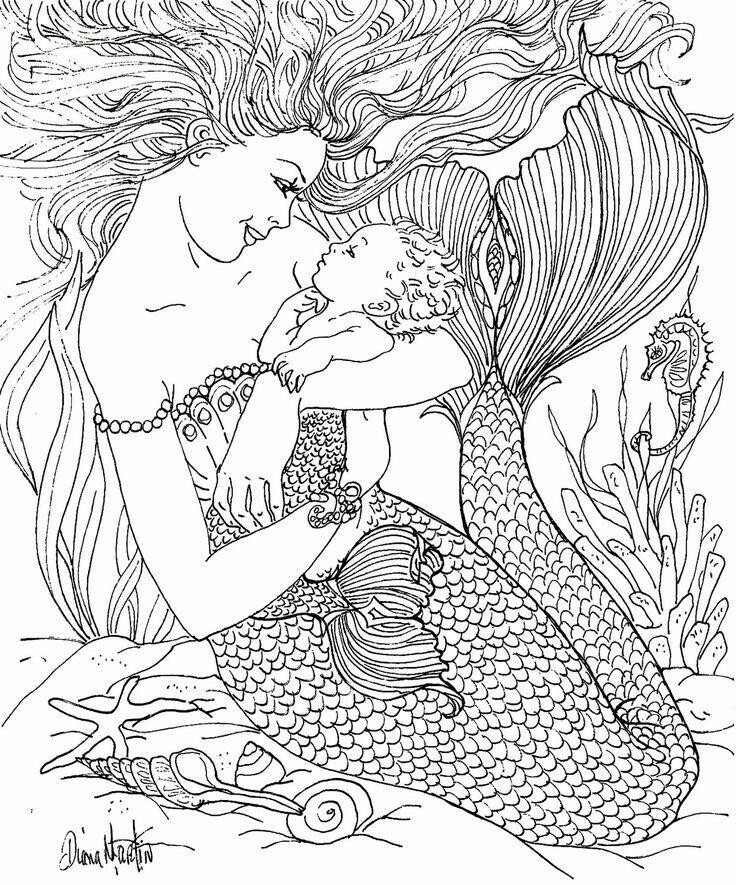 Pin By Dipti Desai On Lovely Pics Mermaid Coloring Pages Mermaid Coloring Adult Coloring Pages