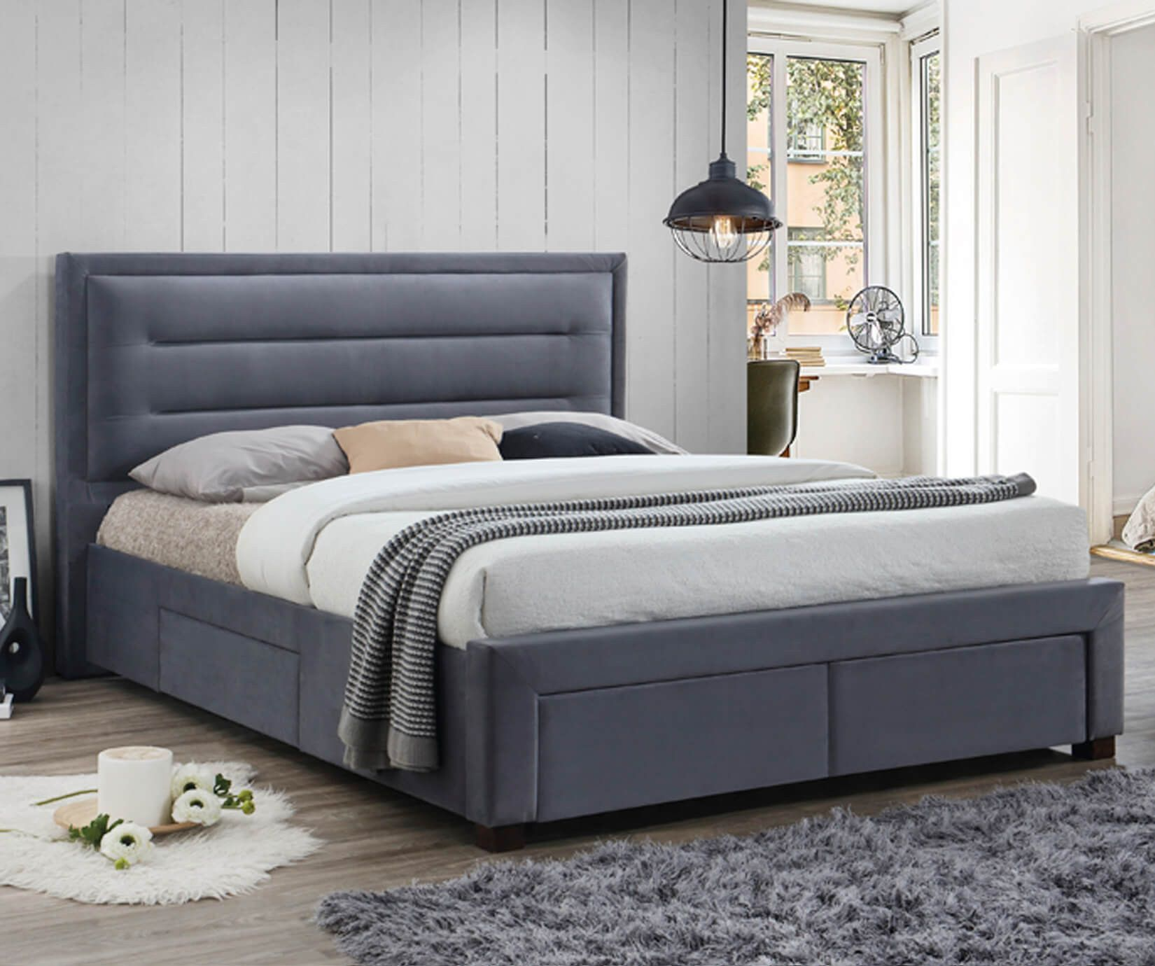 Upholstered Fabric Bed Frames Divan Bed Set Online In Uk