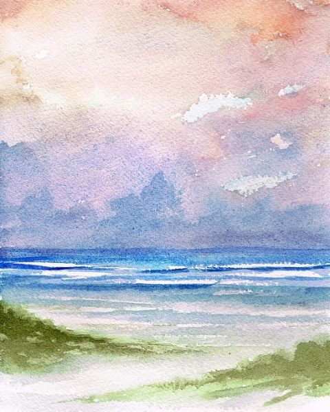 Seashore Sunset Watercolor Painting Hues Of Blue And Pink Blend