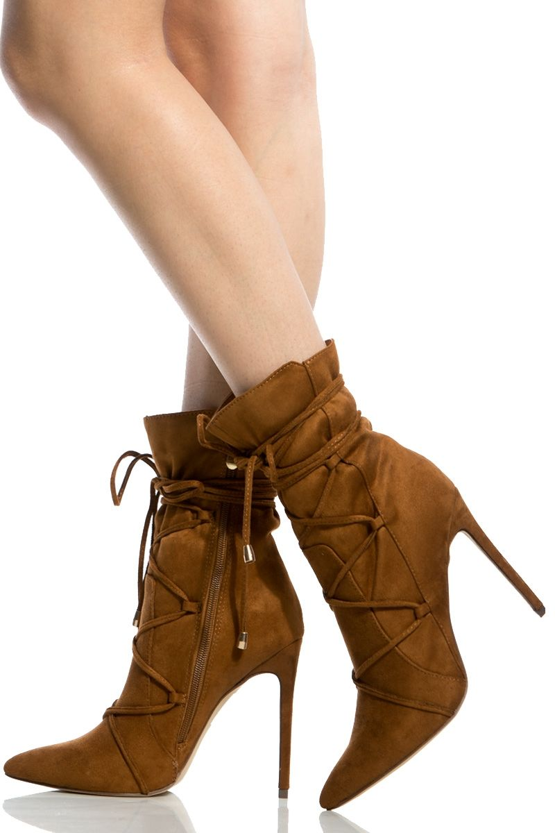 8f5644c720a Chestnut Faux Suede Lace Up Pointed Toe Booties   Cicihot. Booties spell  style