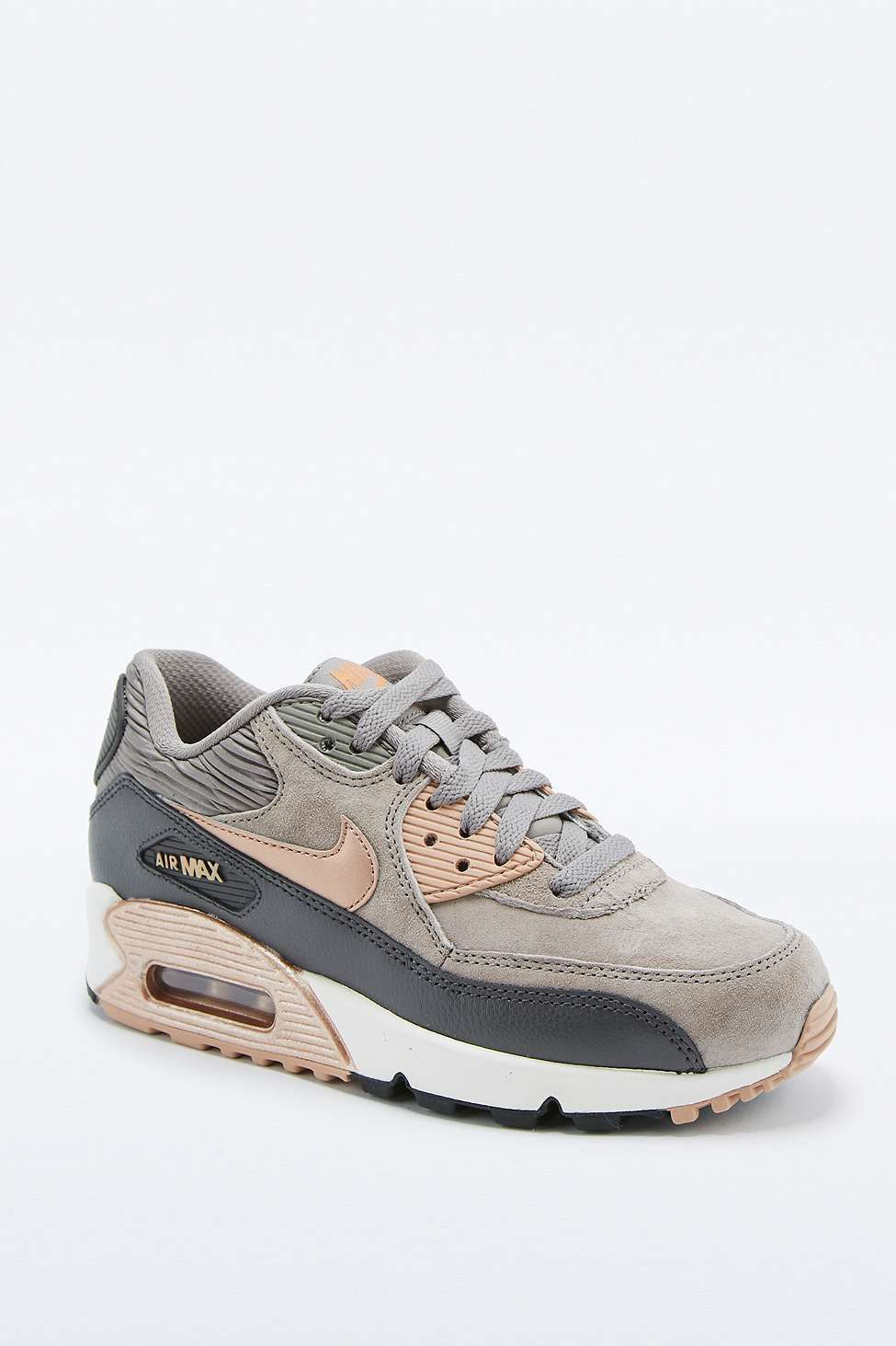 d43ad8a70edeb Nike Air Max 90 Premium Grey and Bronze Leather Trainers - Urban Outfitters