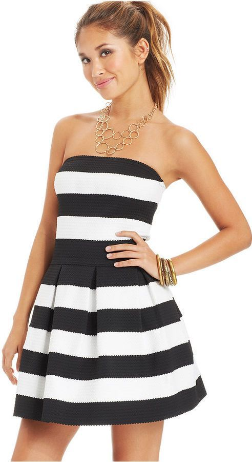 B Darlin Juniors Striped Textured Dress is on sale now for - 25 ...