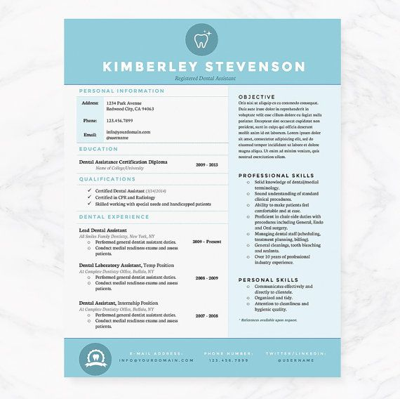 blue dental assistant resume  cover letter  u0026 references template package  creative resume