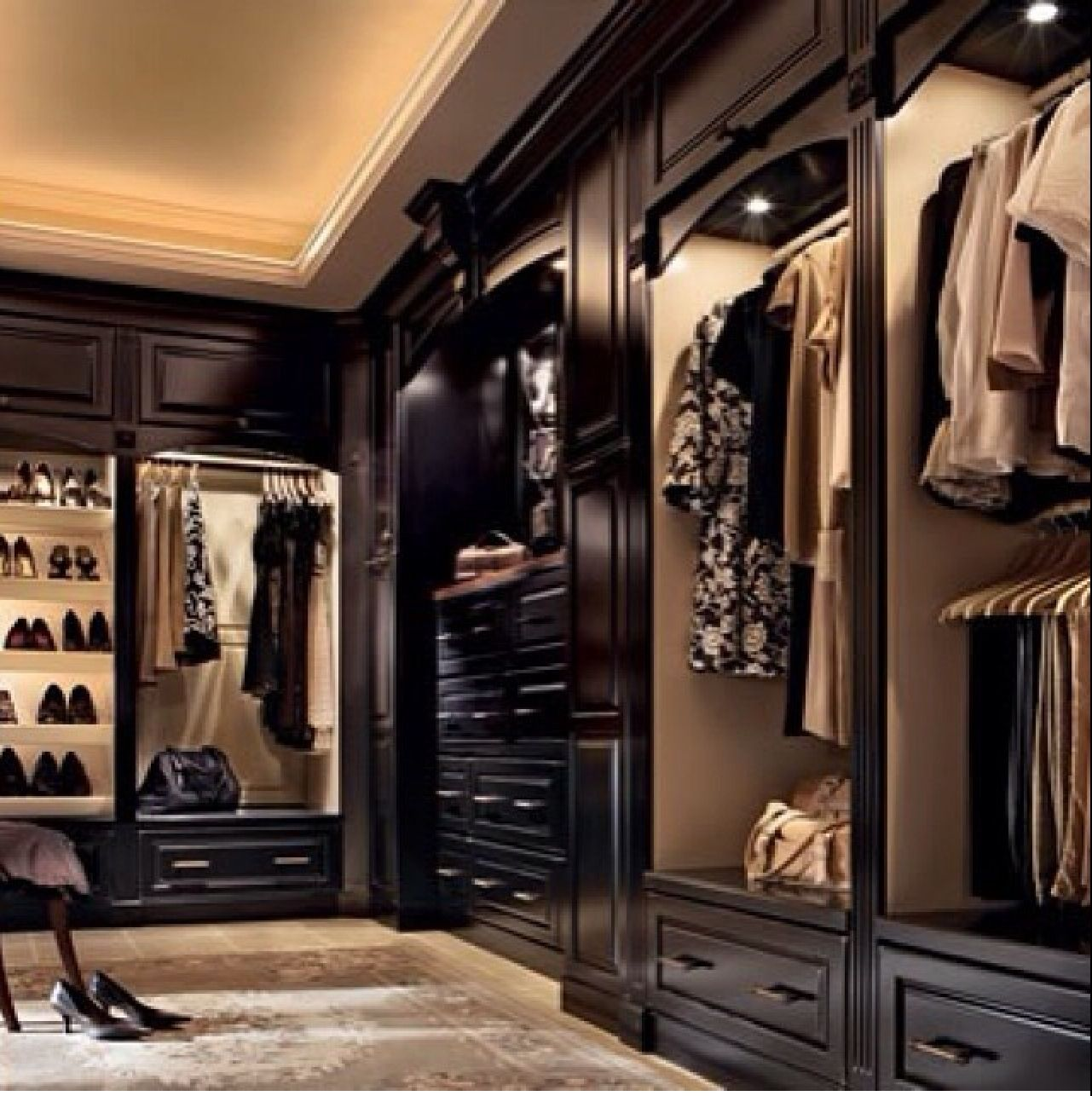 Dark Wood Walk In Closet