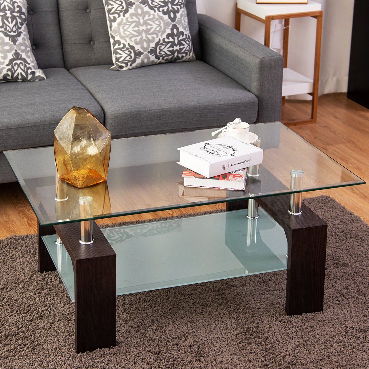 Costway Rectangular Tempered Glass Coffee Table W Shelf Wood Living Room Furniture Walmart Com In 2021 Coffee Table Coffee Table With Shelf Wood Furniture Living Room [ 1200 x 1200 Pixel ]