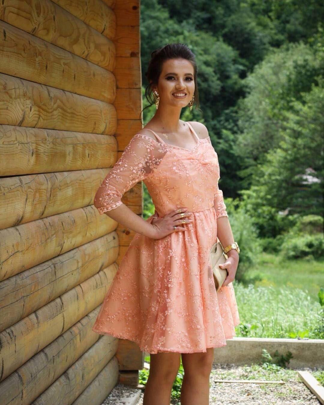 Coral lace short prom dresses v neck spaghetti straps 34