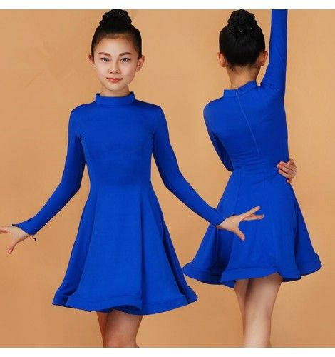 f371a7993 ... royal blue fuchsia hot pink black red mint green long sleeves turtle  neck girls kids children growth competition Latin ballroom dance dresses  outfits