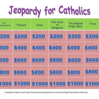 Jeopardy For Catholics  Ten Commandments Religious Education And
