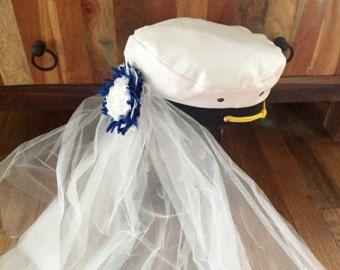 198c51a5cb8 Nautical-wedding-bridal-captain hat-bride-hat-bride hat with veil- bachelorette-blue- bridesmaid