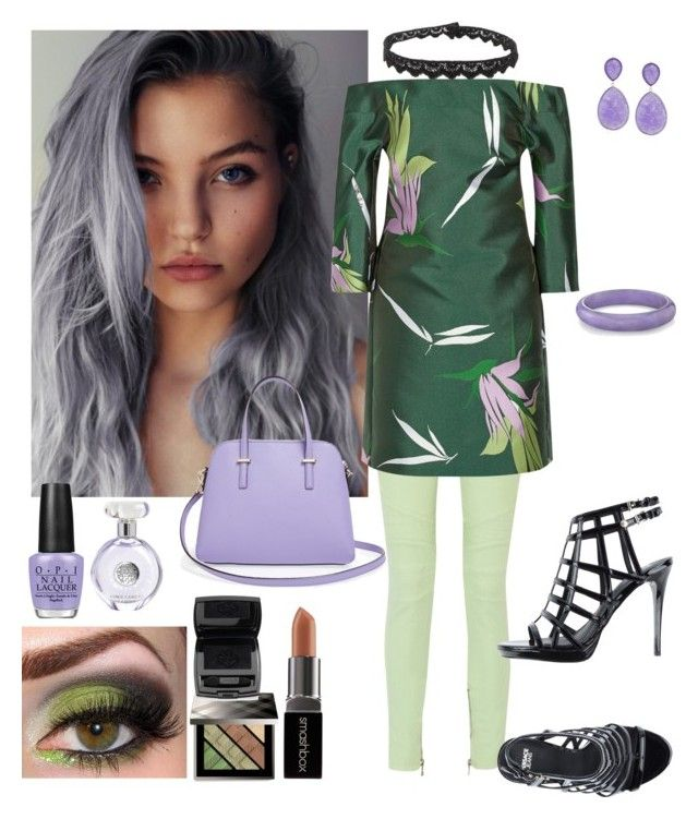 """""""Emerald/Lavender"""" by denibrad ❤ liked on Polyvore featuring Balmain, Marni, Versace, Burberry, Smashbox, Lancôme, Vince Camuto, OPI, Kate Spade and Yves Saint Laurent"""