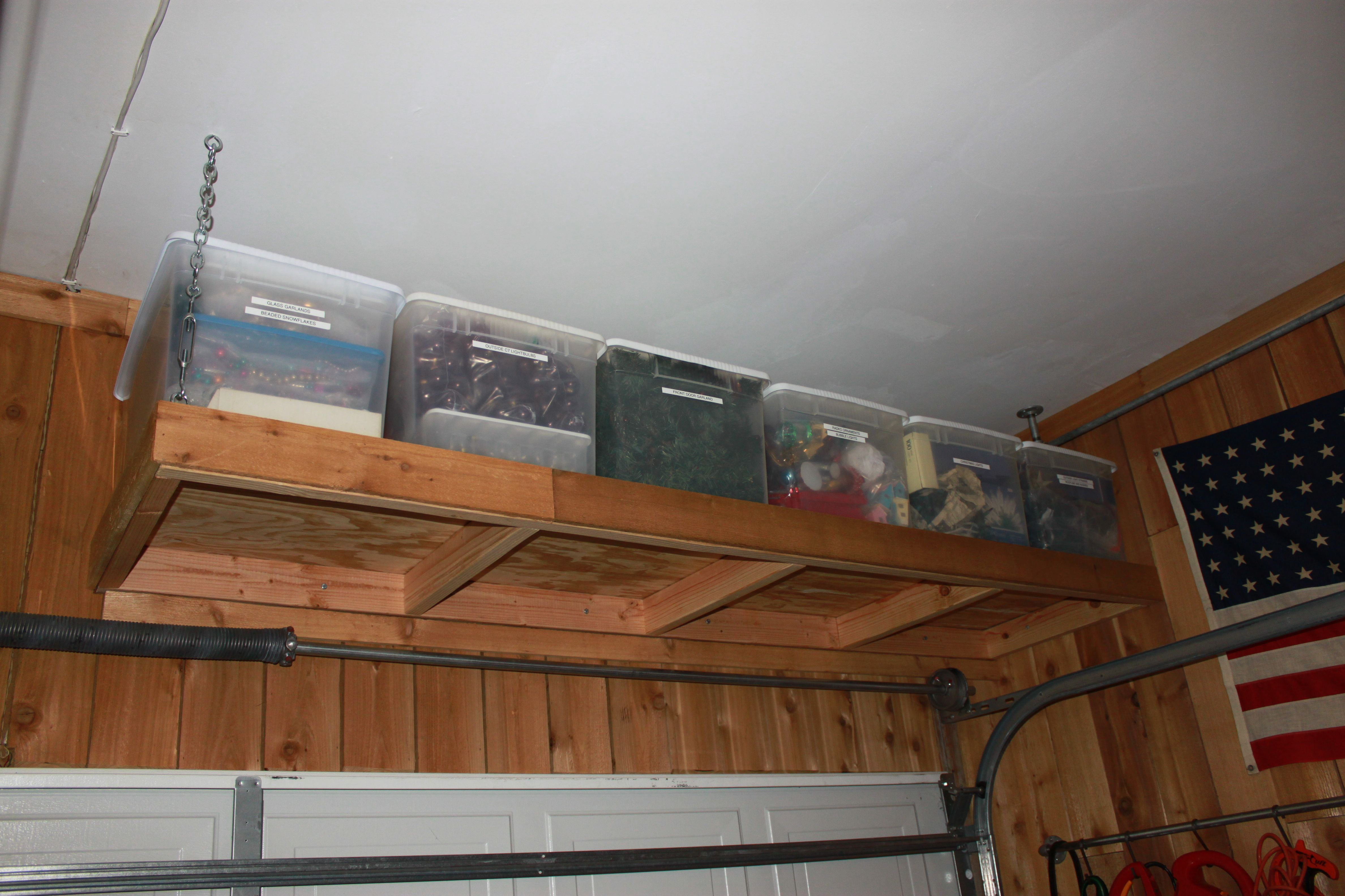 to system storage ideas installation ceilings trend size loft chains build shelf of how diy overhead with hanging full shelves garage pulley ceiling