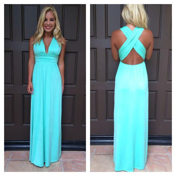 Turquoise summer maxi dresses