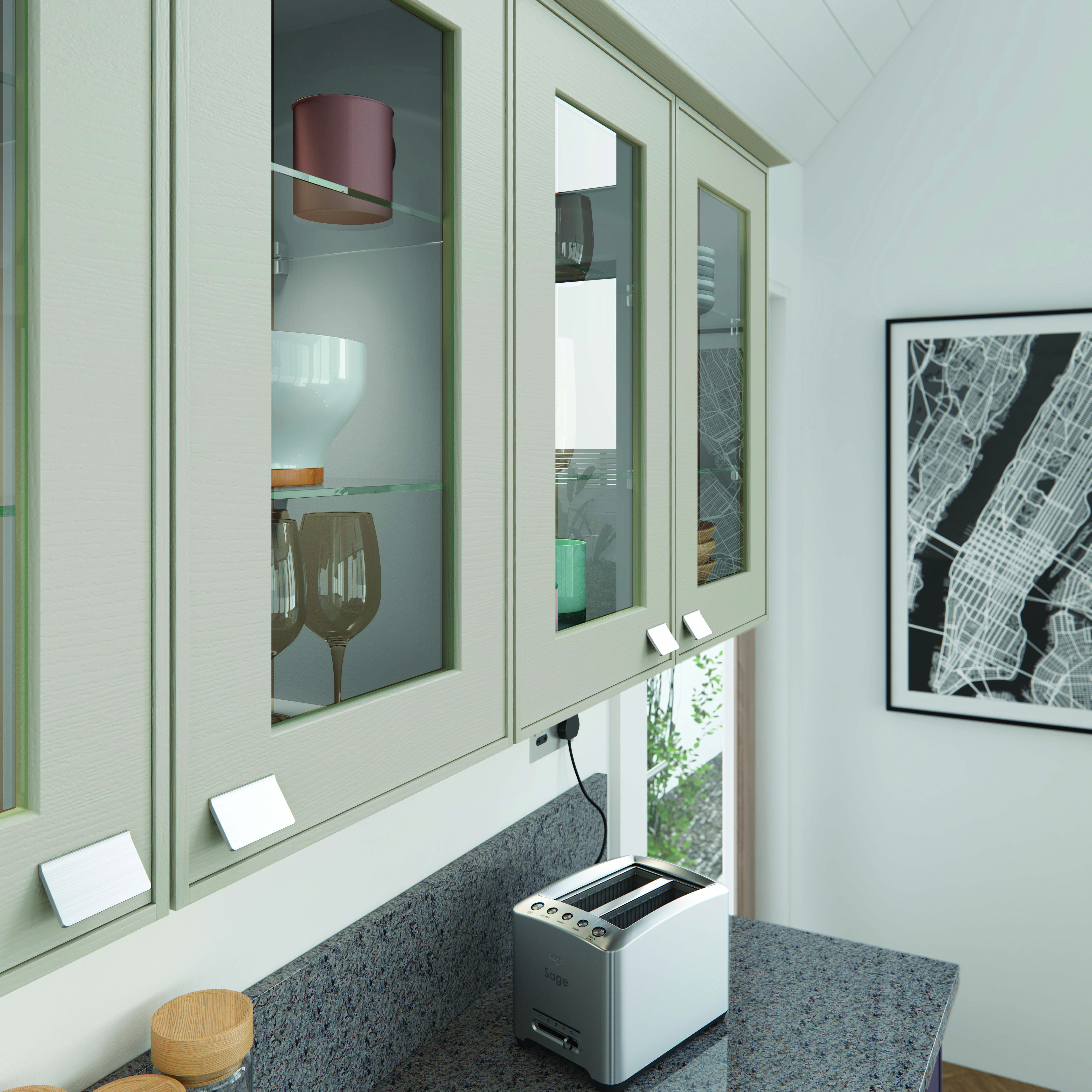 Ely Glazed Wall Units Cameo | Mereway Kitchens- Town & Country ...