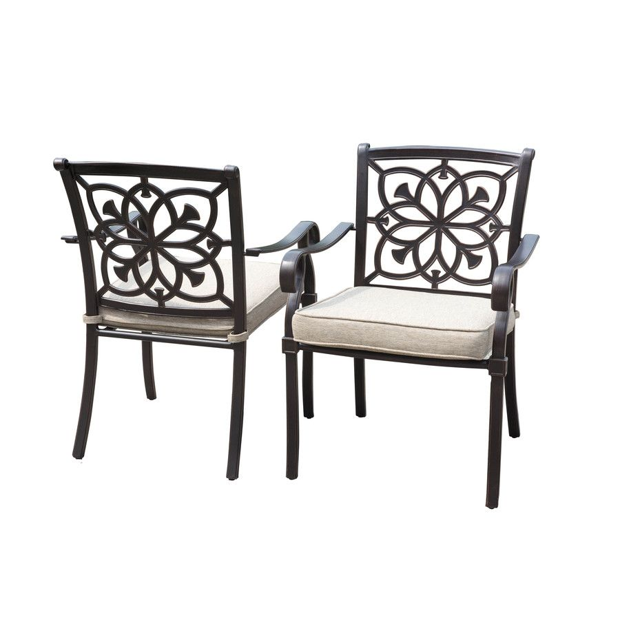 How to make seat cushions for dining chairs moreover white resin - Allen Roth Ebervale 2 Count Aged Bronze Aluminum Patio Dining Chairs With Tan Solartex Cushions