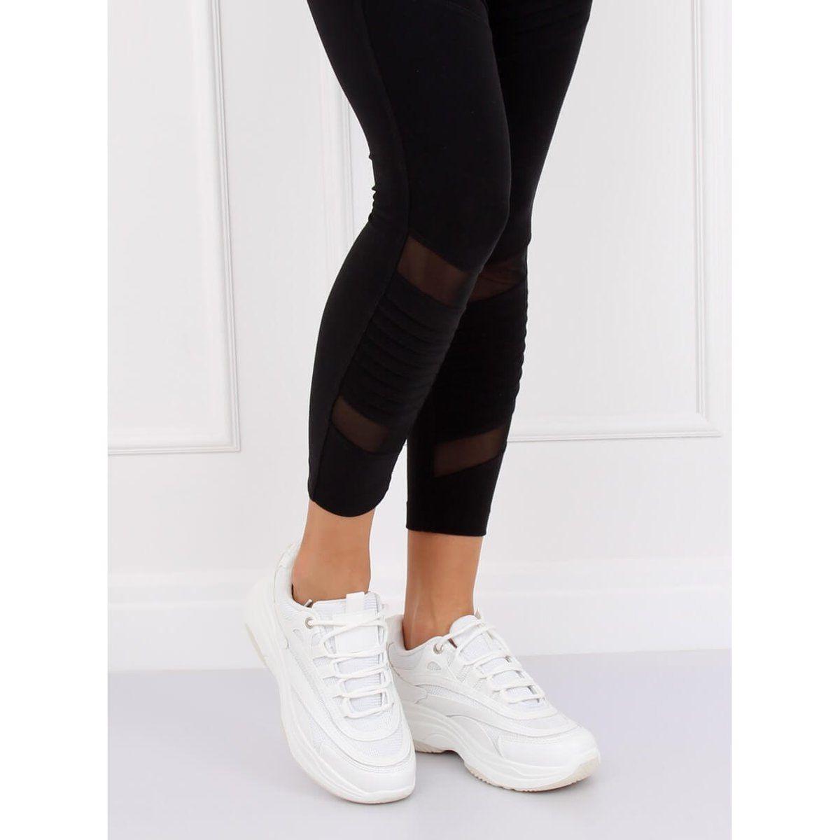 Buty Sportowe Damskie Biale B0 15 White Fashion Black Jeans Black