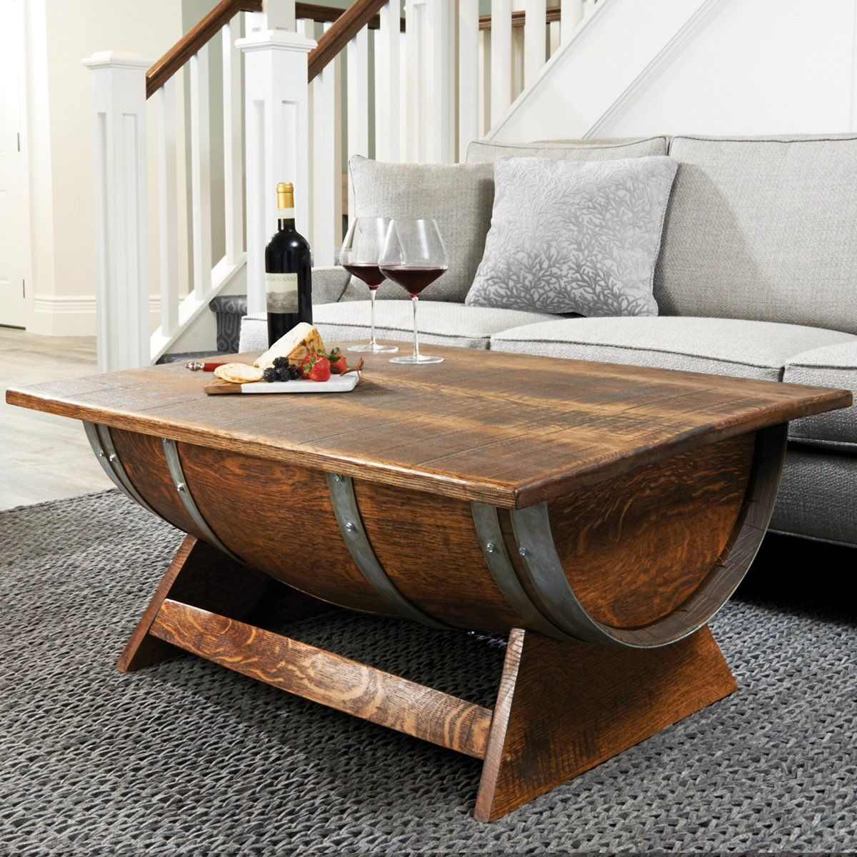 Reclaimed Wine Barrel Coffee Table With Unique Lift-Top in 6