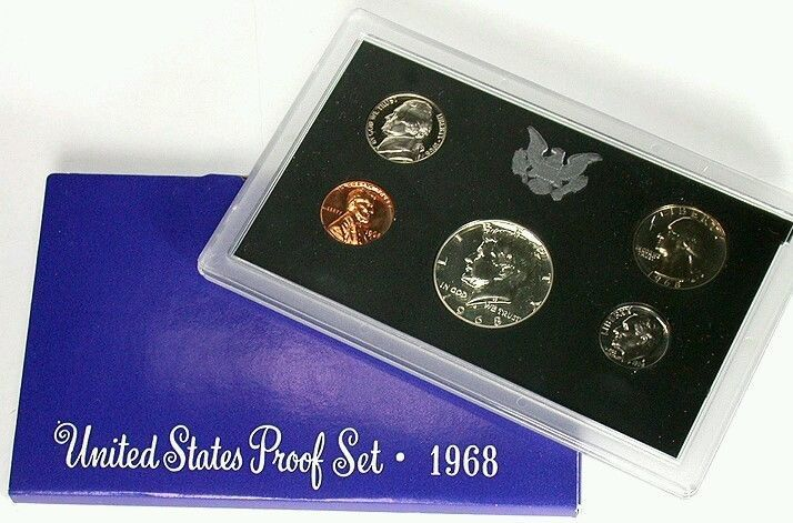 1968 S Proof Set Original Box US Mint 5 Coins
