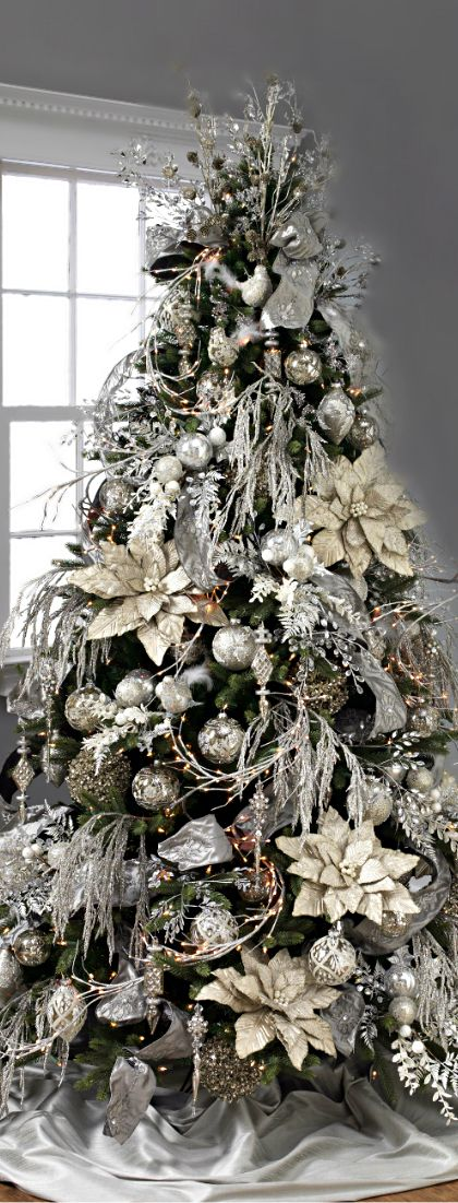 Christmas Tree ○ Silver  Gold Christmas Pinterest Christmas