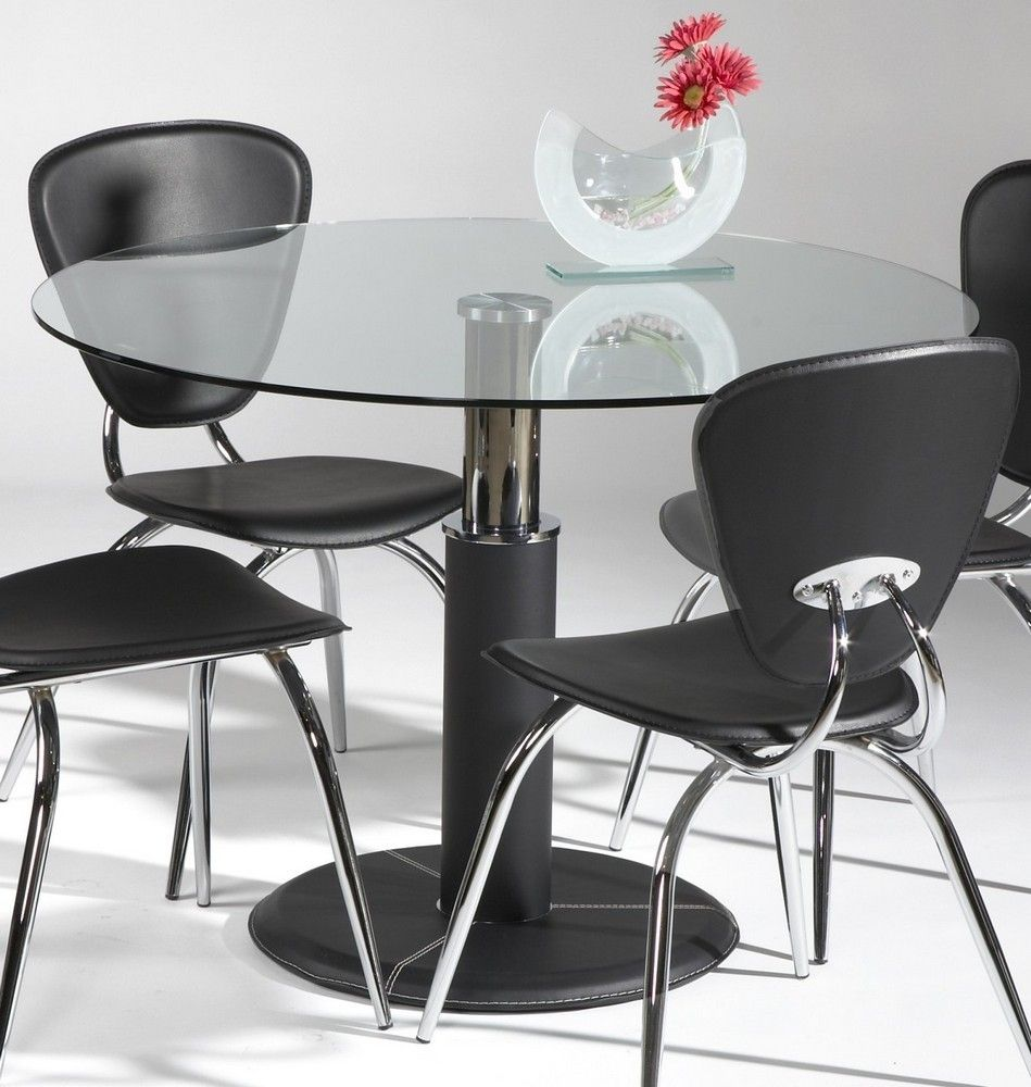 42 Inch Round Glass Pedestal Table Glass Dining Table Set Glass