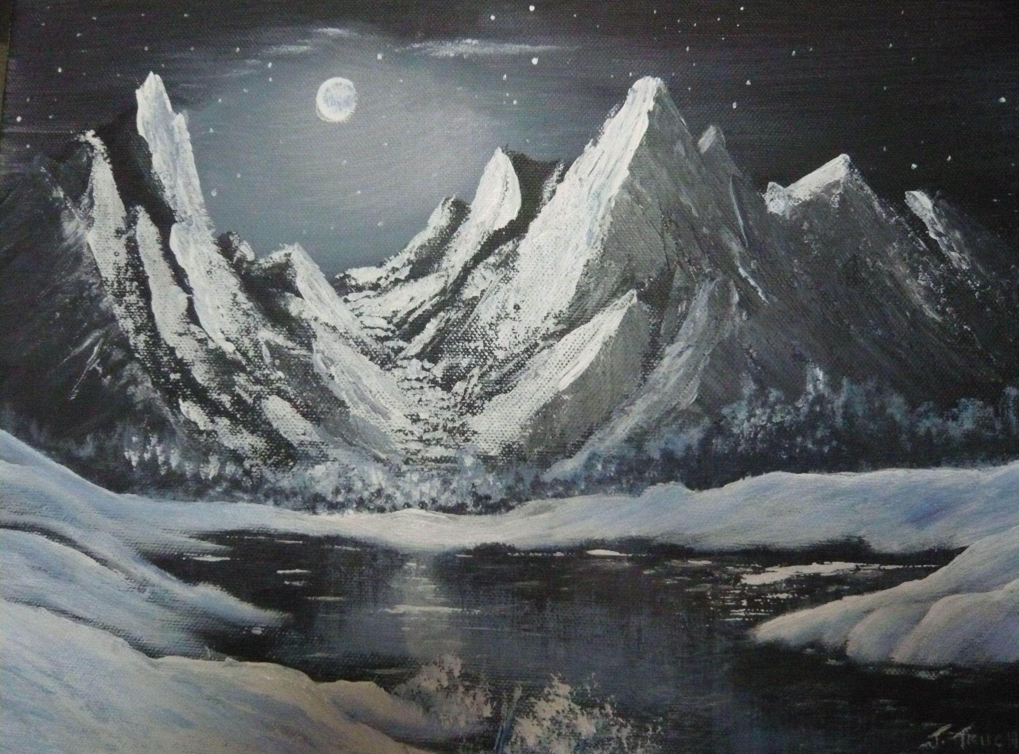 Montagne enneig e peintures montagne montagne enneig e et paysage - Paysage enneige dessin ...