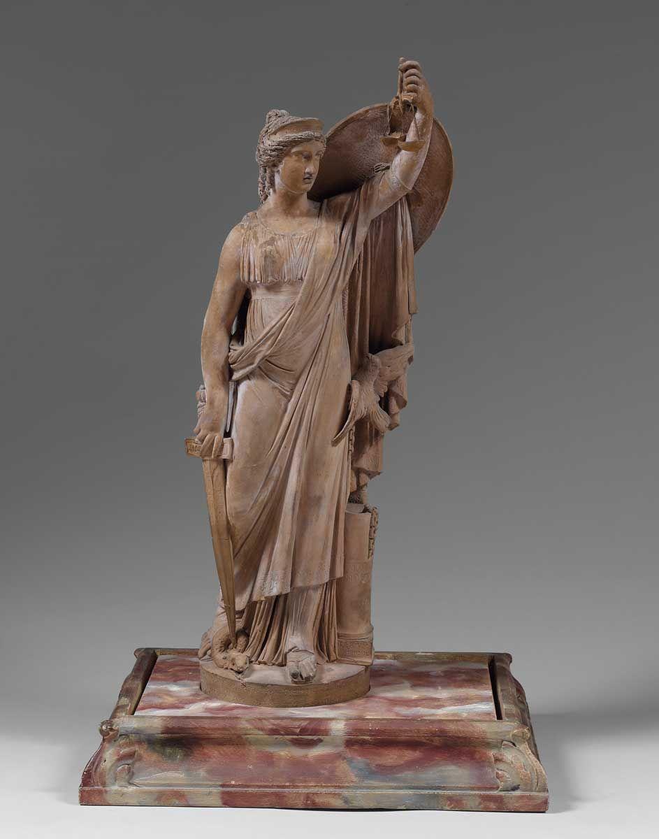 Joseph Chinard (1756-1813) | L'Innocence sous la forme d'une colombe se réfugiant dans le sein de la Justice.  terre cuite, h. 44 cm.