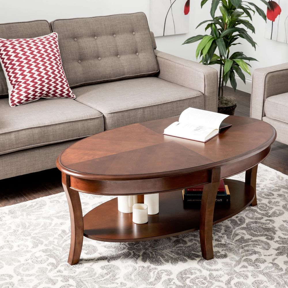 Wood Coffee Table Walnut Finish Oval Cocktail Accent Table Living