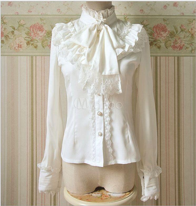 High Collar Chiffon Lace Vintage Lolita Blouse
