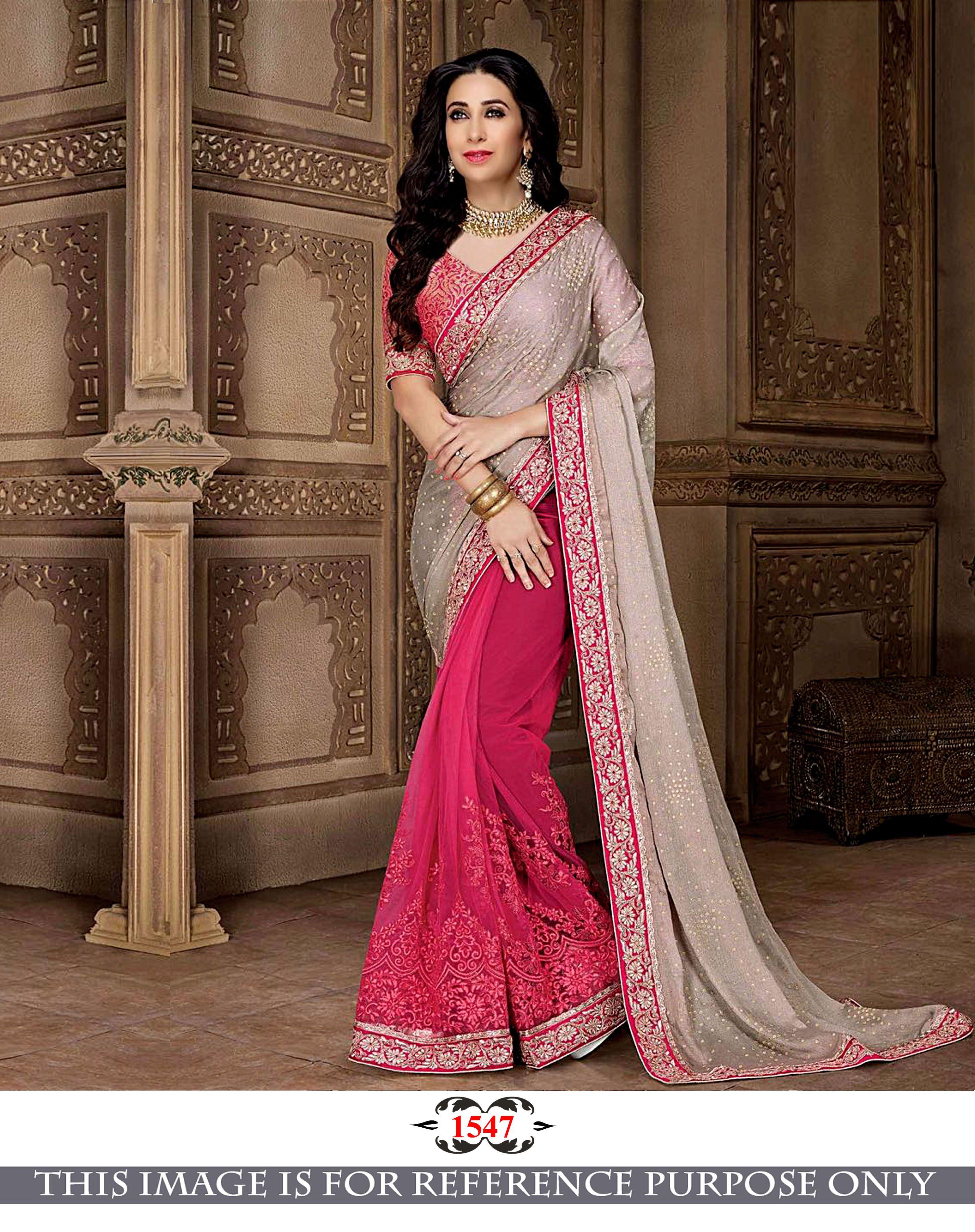 54f282b40cc24 Karisma Kapoor Grey   Pink Georgette with Banarsi Silk Blouse Half   Half  Saree