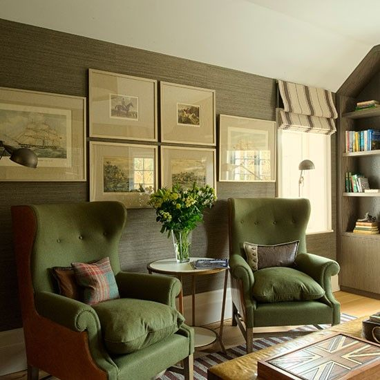 Living Room With Green Upholstered Armchairs