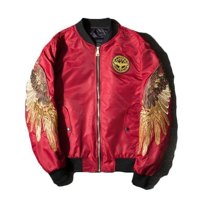 6050a8662 Wings Bomber Jacket | Products | Bomber jacket, Jackets, Red bomber ...