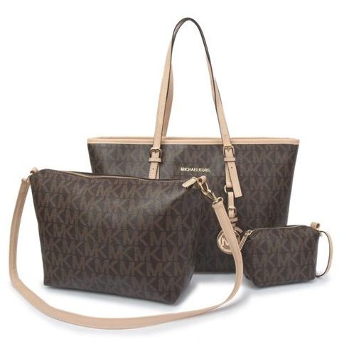 67d5f737527e78 MICHAEL KORS JET SET TRAVEL LOGO SIGNATURE LARGE COFFEE TOTES ...