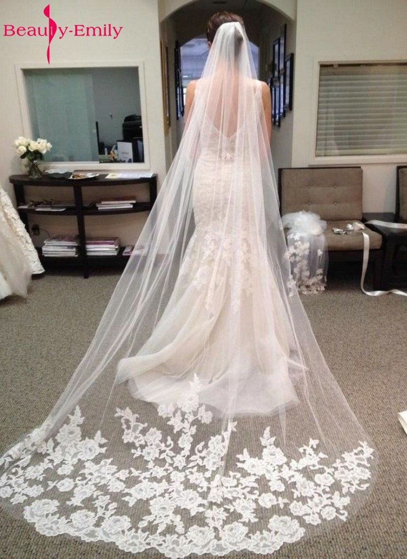 Beautyeemily wedding accessories appliques tulle long