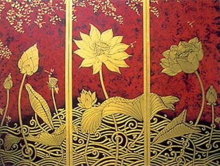 Golden lotus asian art