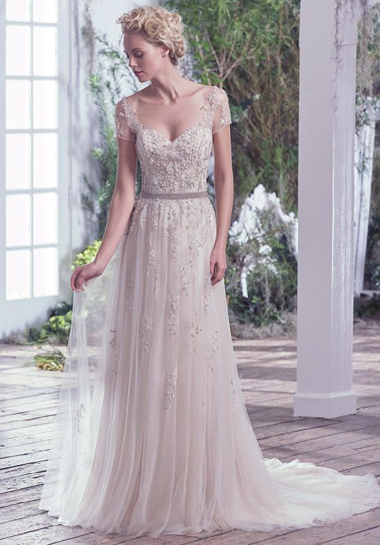weightless tulle and metallic embroidered lace sheath wedding dress