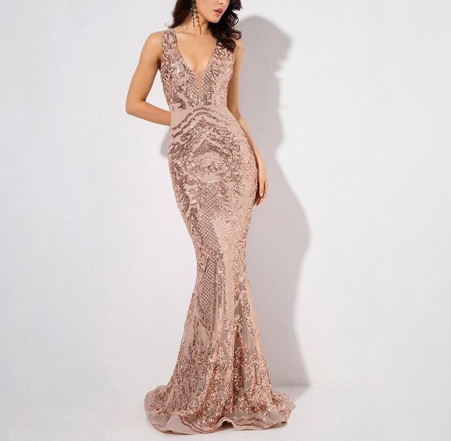 Rosanna Deep V Neck Rose Gold Sequin Maxi Dress Sequin Cocktail Dress Sequin Maxi Dress Sequin Gown [ 891 x 912 Pixel ]