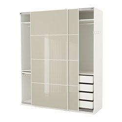PAX wardrobe, white Hokksund, Hokksund high gloss light