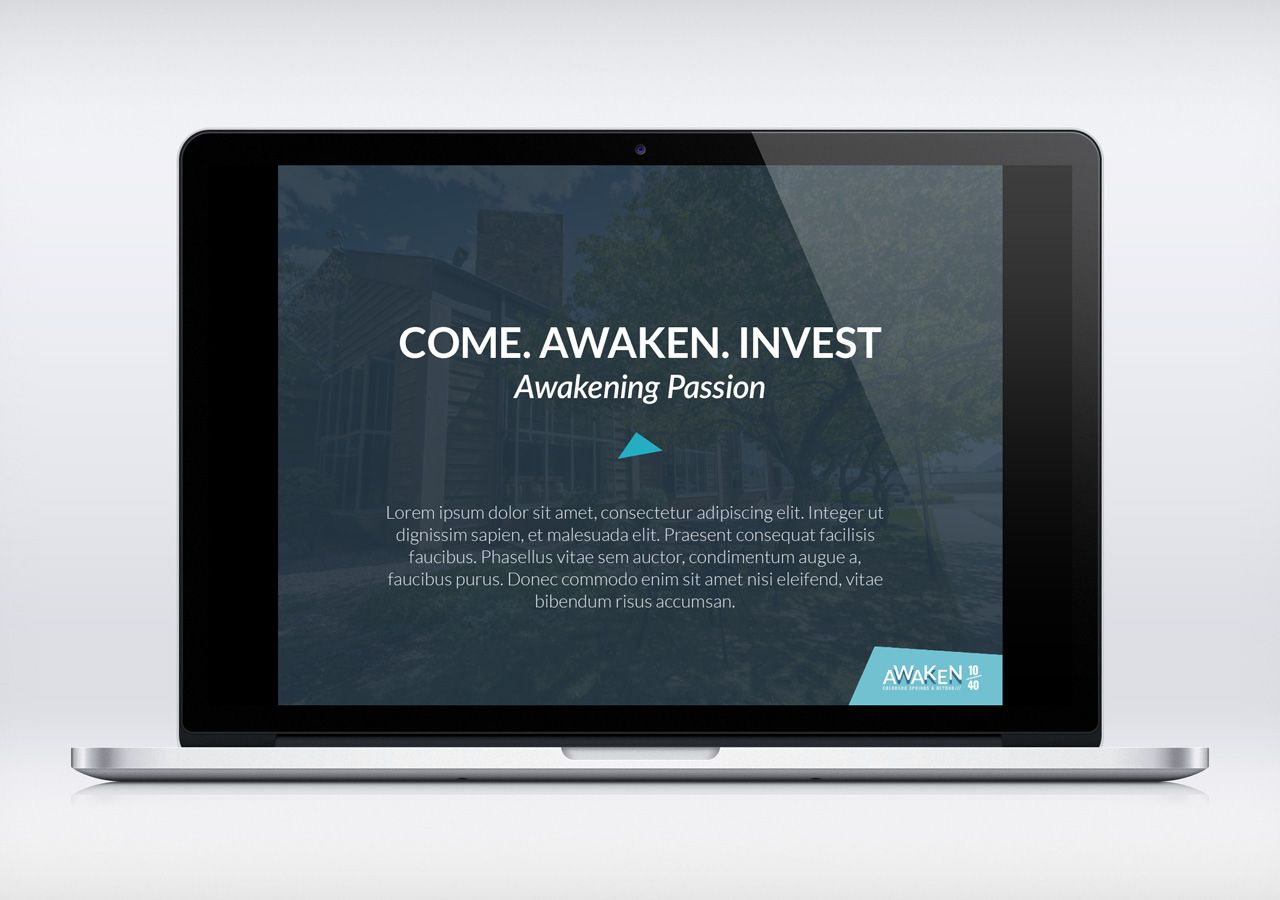 awaken 10/40 fundraising event identity design, presentation, Modern powerpoint