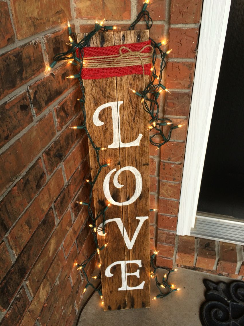 Pallet Sign For Valentines Day Porch Decor Added Lights