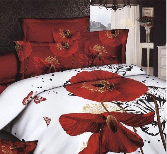 Red Poppy Flower Queen 100 Cotton Bedding Set 4 Pc Cotton Bedding Sets Bedding Sets Red Bedding Sets