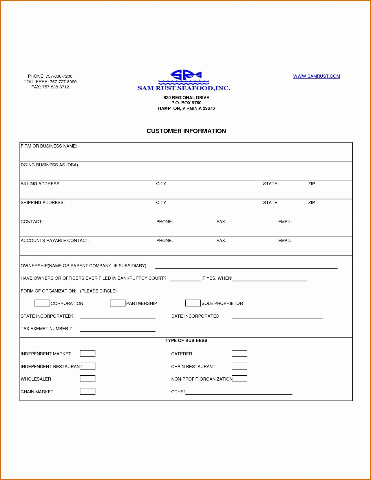 New Customer Information Form Template In 2020 Templates