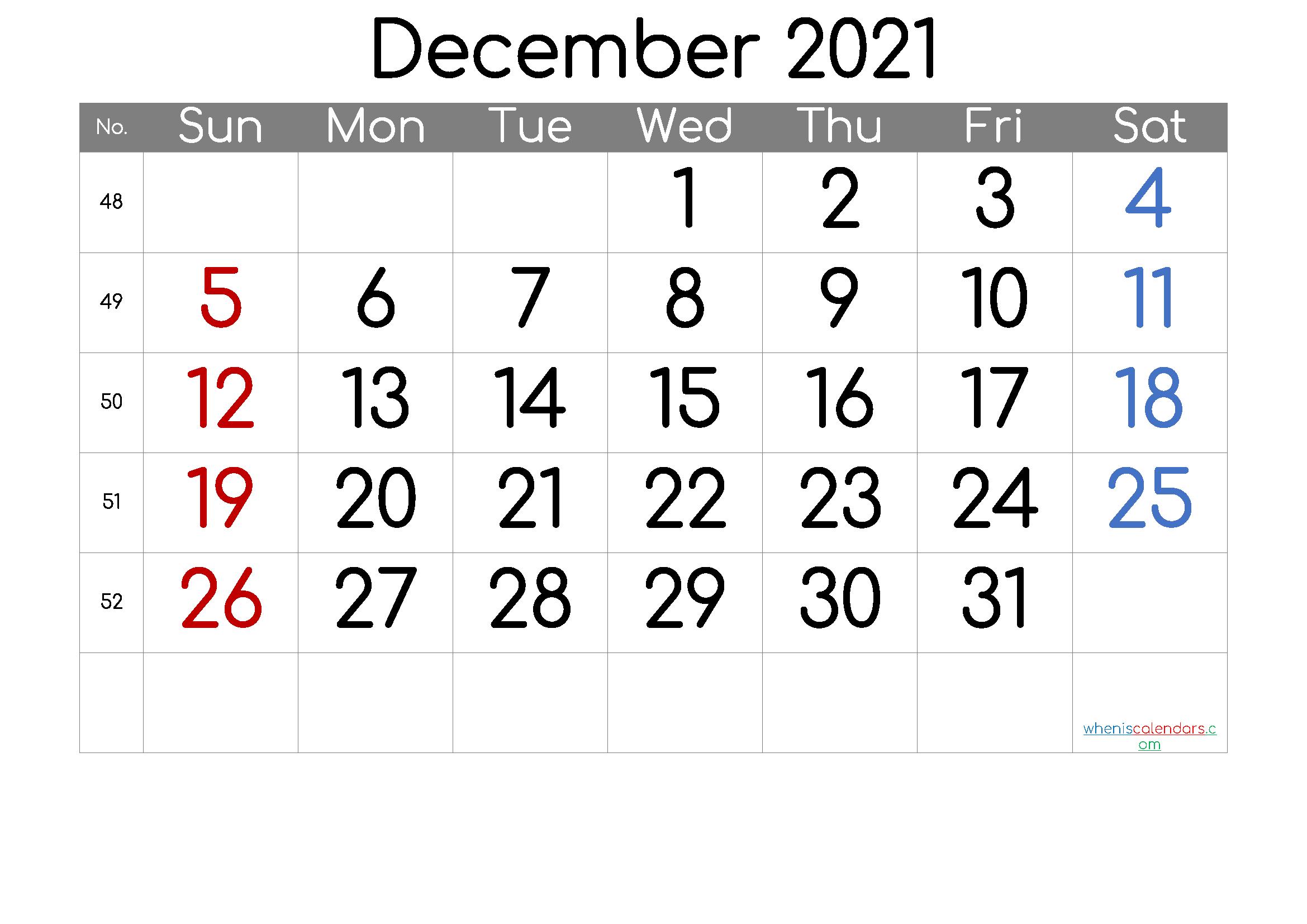 December 2021 Printable Calendar Free Premium in 2020 ...
