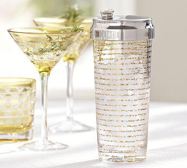Gold Stripe Cocktail Shaker #potterybarn