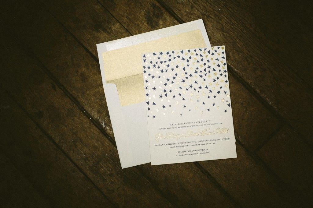 Royal Night letterpress and gold foil wedding invitations | Bella Figura