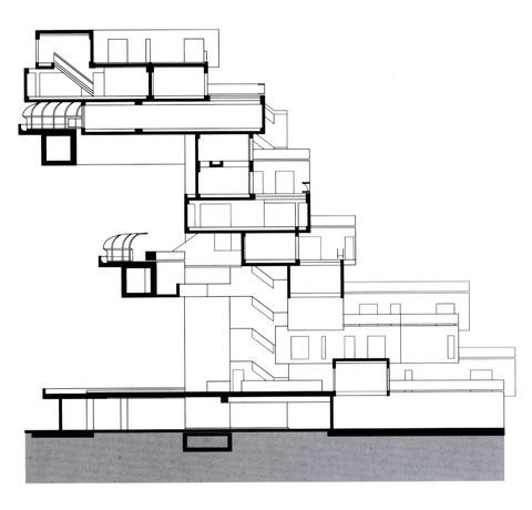 Cross Section Moshe Safdie Habitat 67 Architectural Section Building Apartment Building