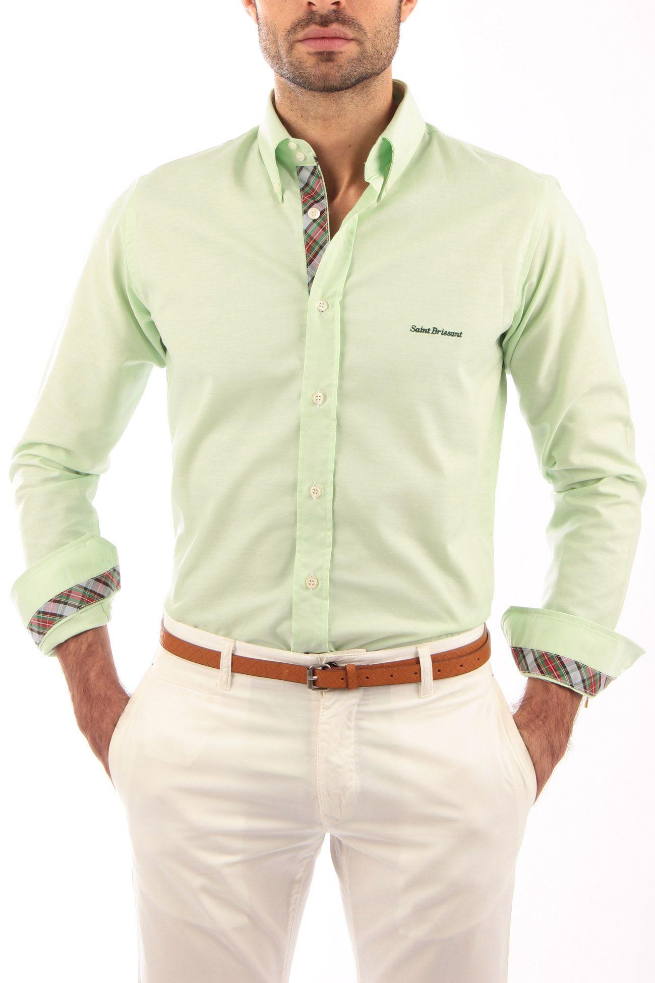 Camisa Oxford color manzana con cinta escocesa gris y verde. Producto  artesanal. Detalles de cinta escocesa en vista de botones, interior de  puños e ...