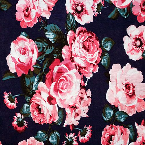 bab4b6c540a1b2 Big Pink Roses on Navy Blue Jersey Blend Knit Fabric - Gorgeous! Larger  scale pink